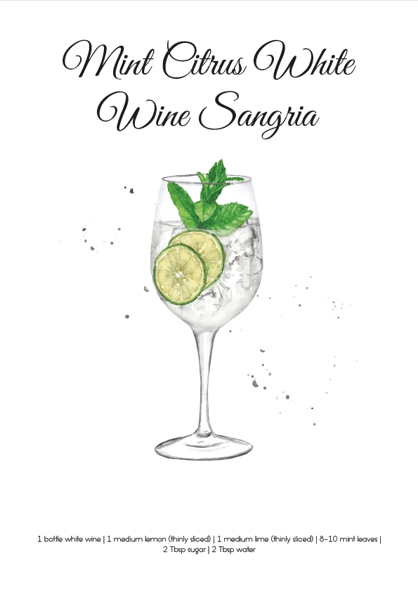 Mint Citrus White Wine Sangria SKU 0002