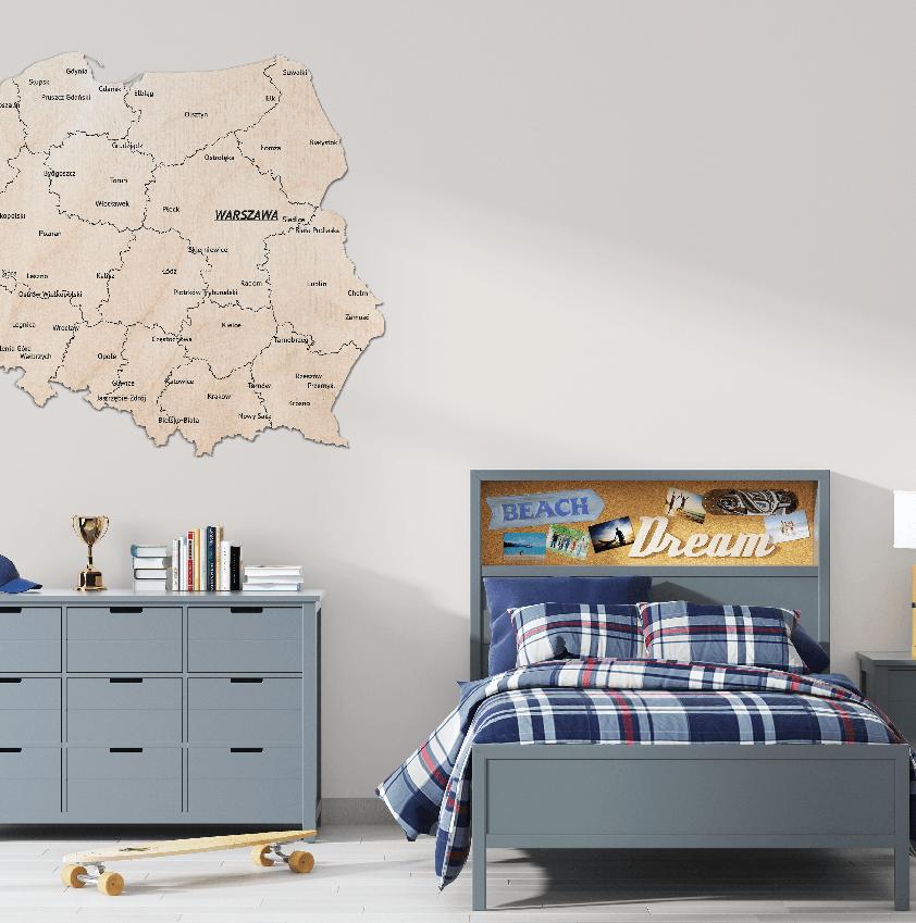Mapa Polski Grawerowana Kolor Naturalny