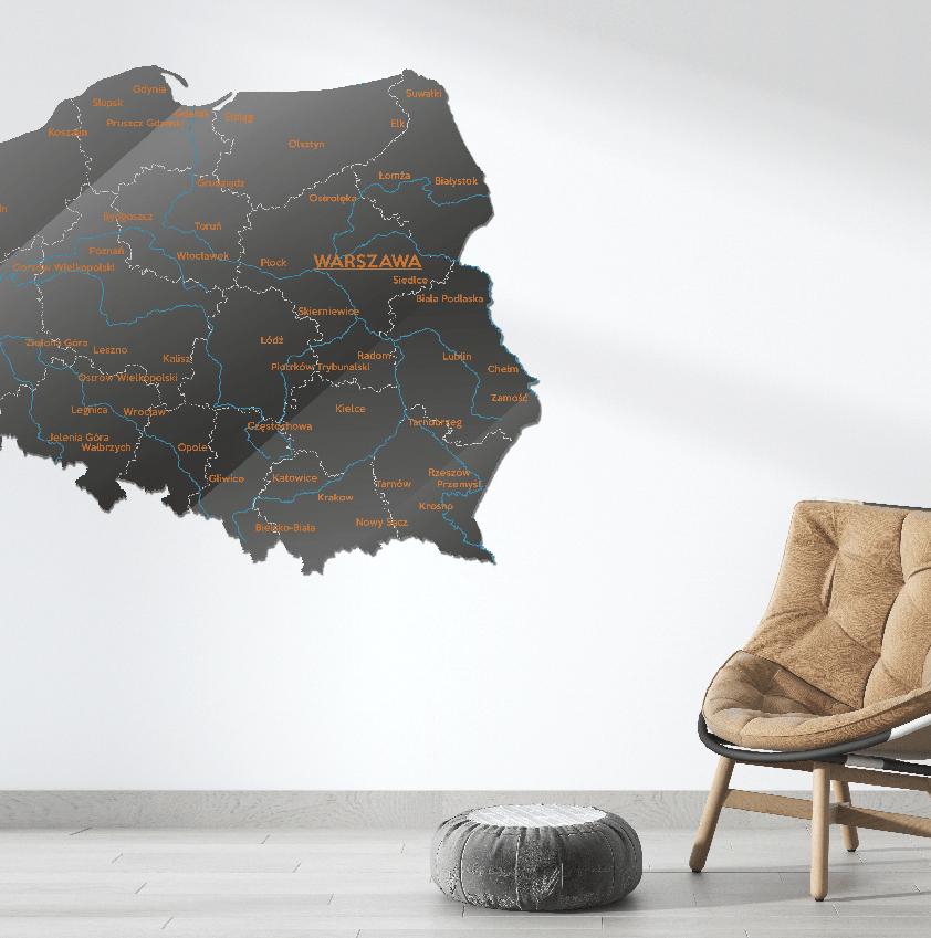 Mapa Polski Szkło Akrylowe Antracytowo Pomarańczowa