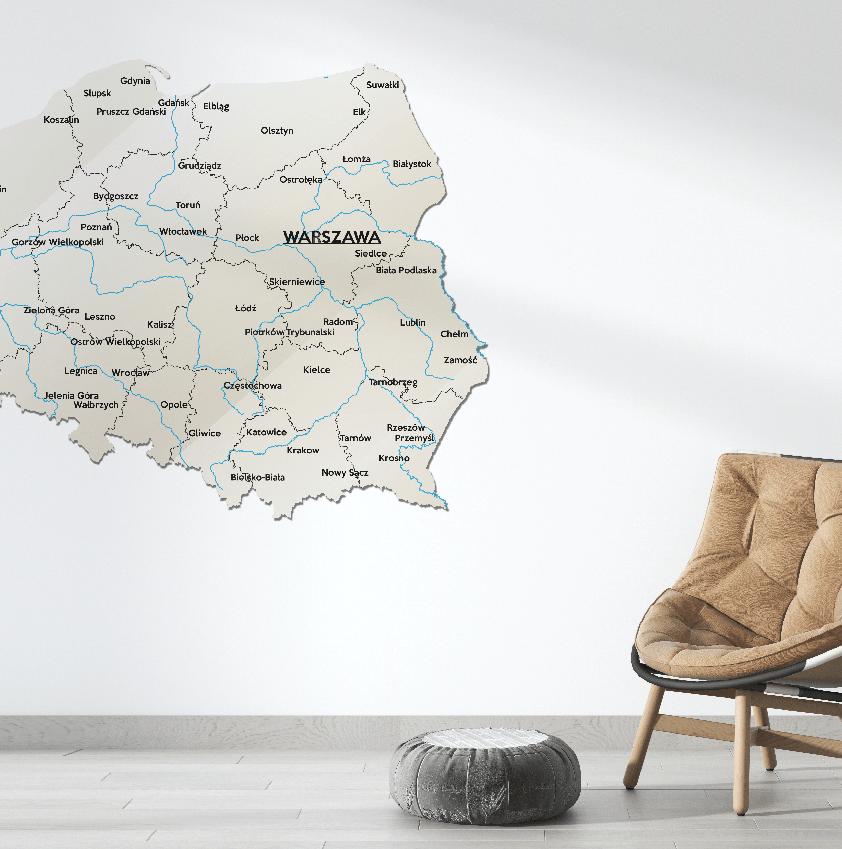 Mapa Polski Szkło Akrylowe Beżowo Czarna