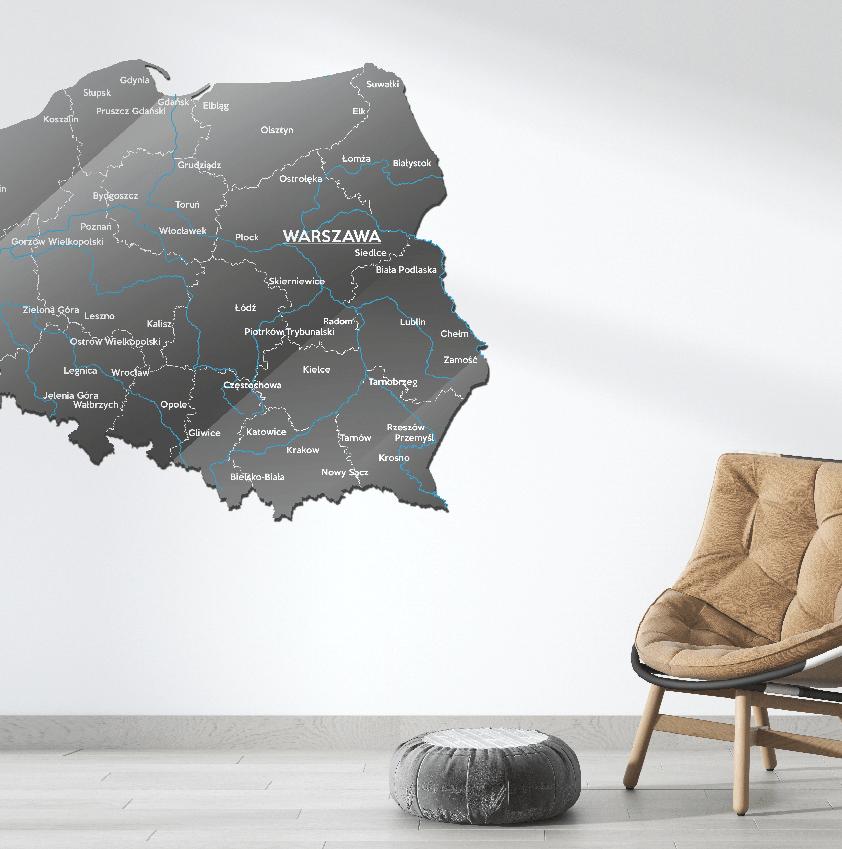 Mapa Polski Szkło Akrylowe Ciemno Szaro Biała