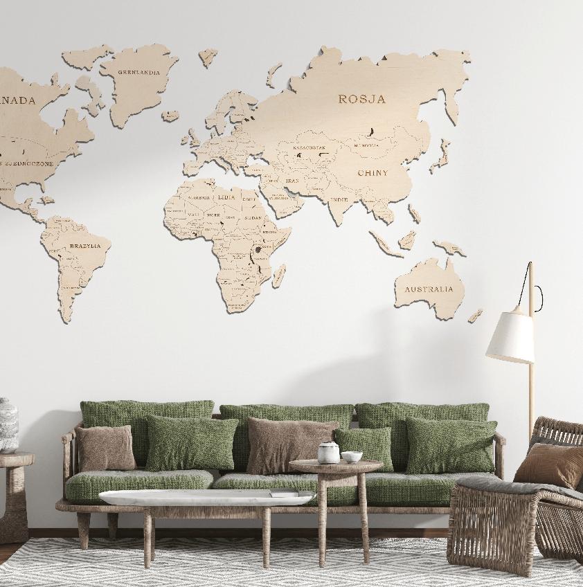 Mapa Świata Kolor Naturalny SKU 1402