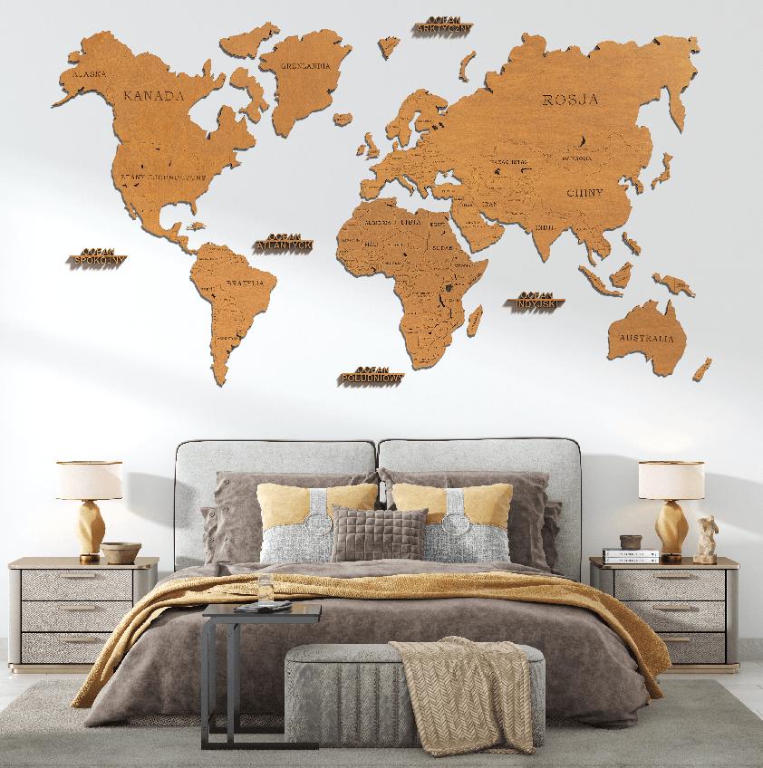 Mapa Świata Odcień Sosny SKU 1399