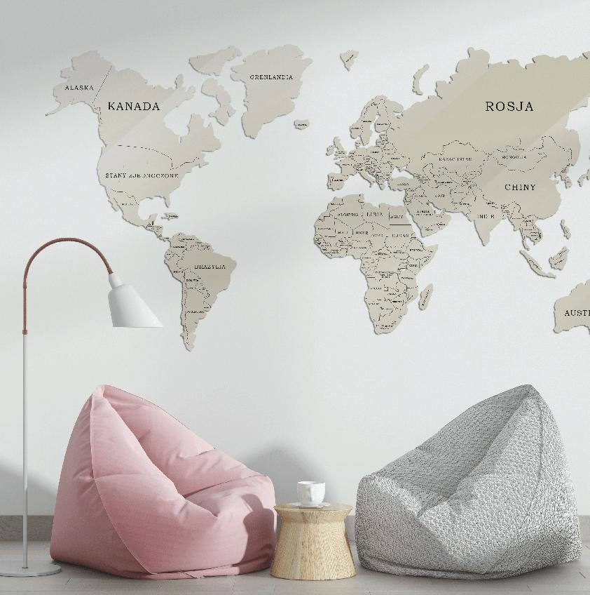 Mapa Świata Szkło Akrylowe Beżowo Czarna