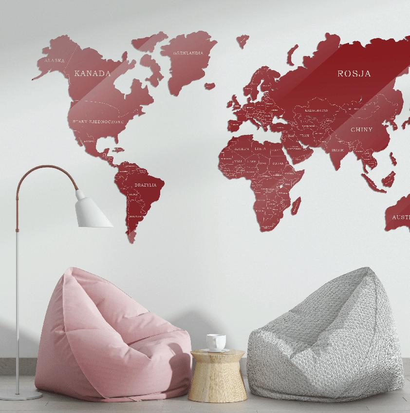 Mapa Świata Szkło Akrylowe Bordowo Beżowa