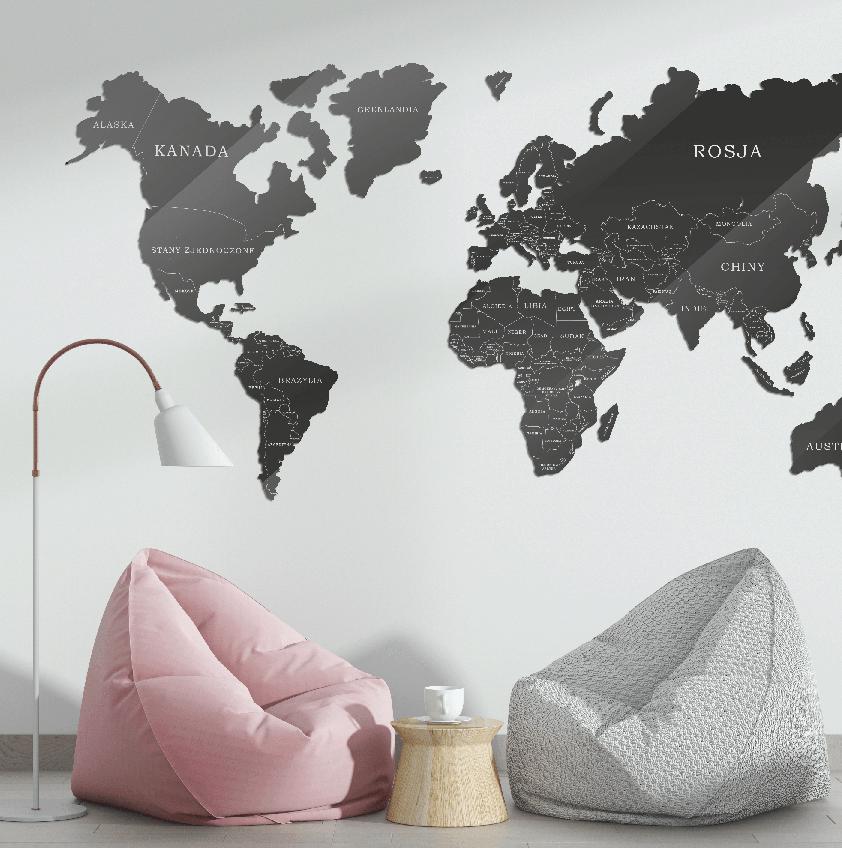 Mapa Świata Szkło Akrylowe Ciemno Szaro Biała