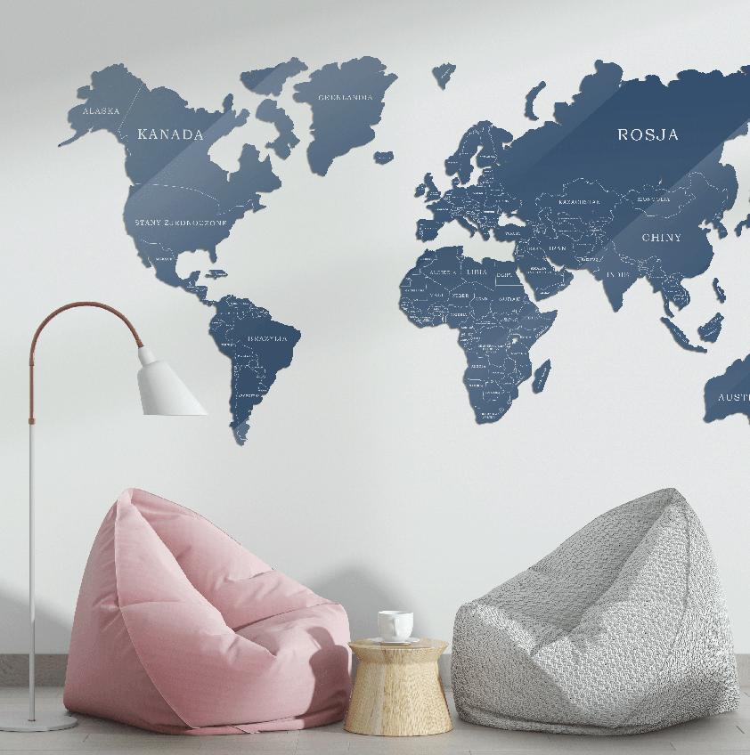 Mapa Świata Szkło Akrylowe Niebiesko Biała